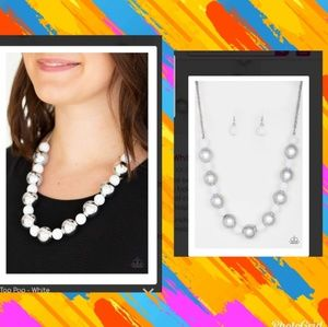 White and silver beaded Necklace and earring set